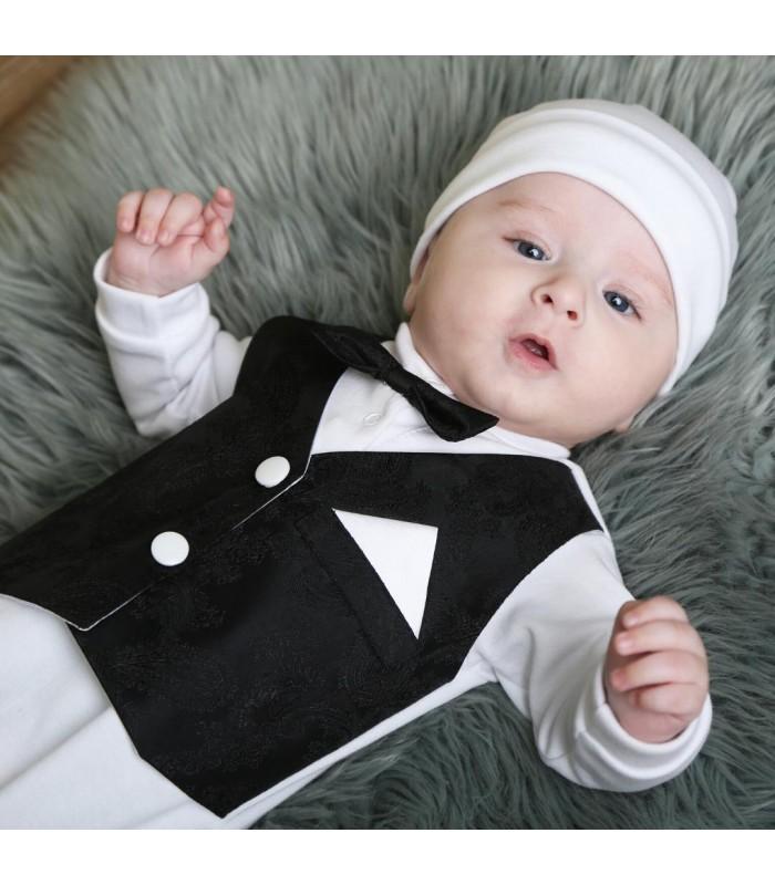 Человечек для новорожденного черная жилетка