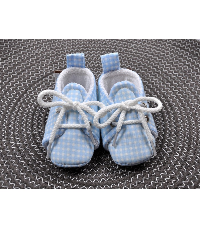 Пинетки хлопковые голубая клетка