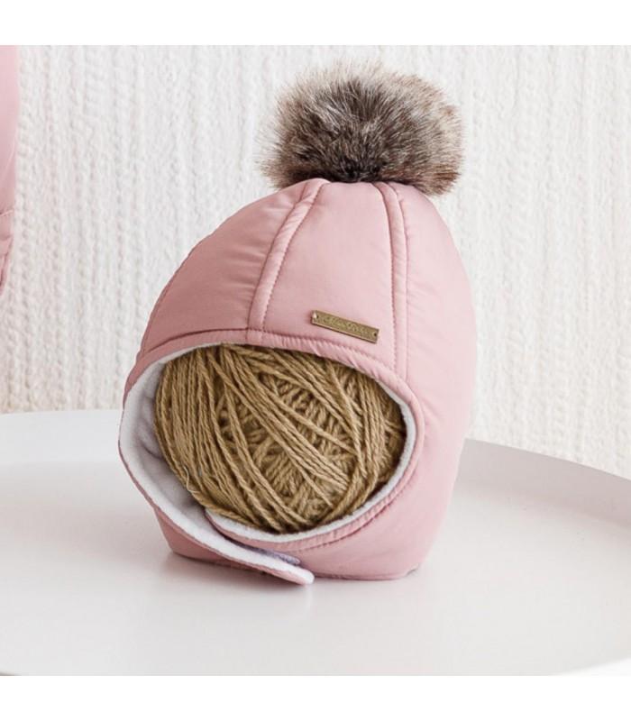 Зимняя шапочка пудра