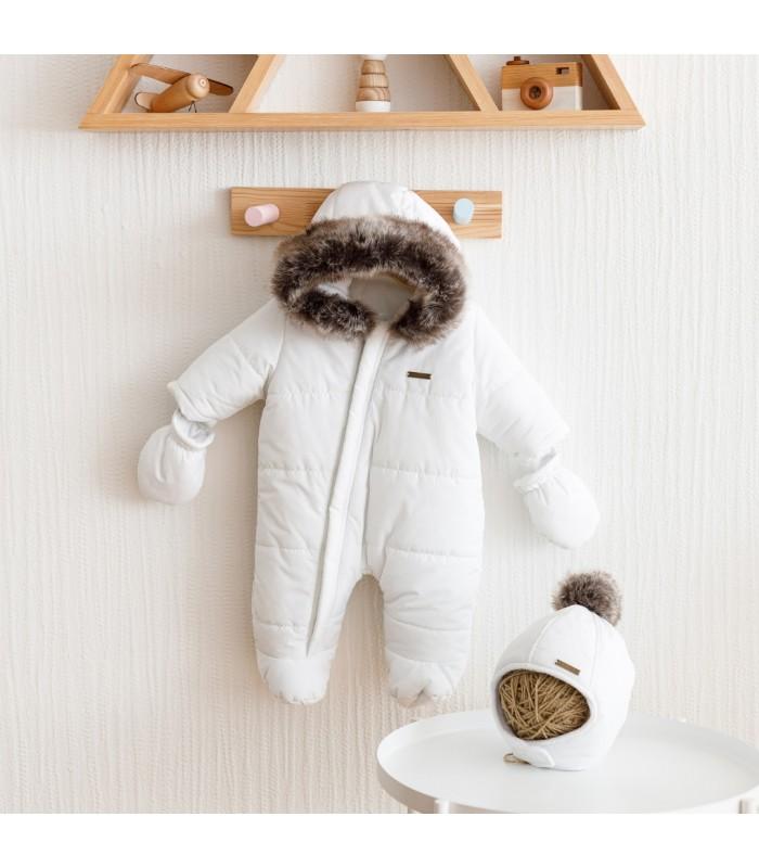 Зимний комплект комбинезон с шапочкой молоко