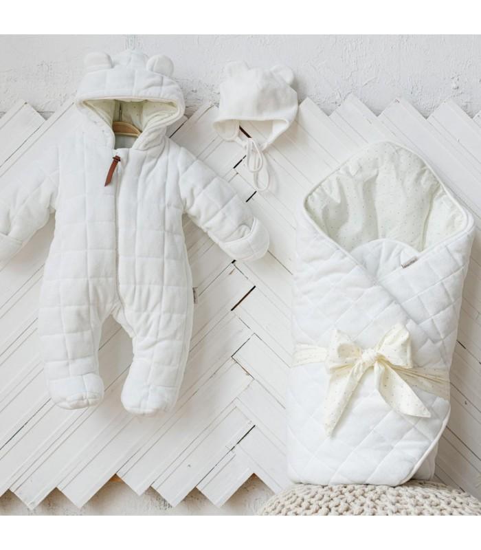 Комплект велюровый для новорожденного цвет молоко
