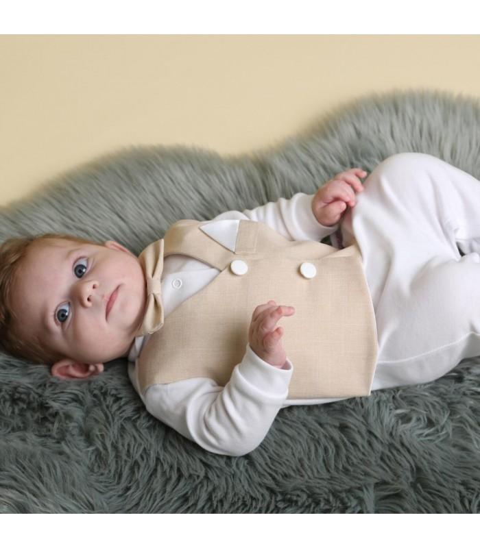 Человечек для новорожденного бежевая жилетка