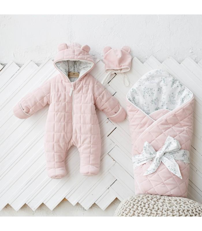 Комплект велюровый для новорожденного цвет розовый