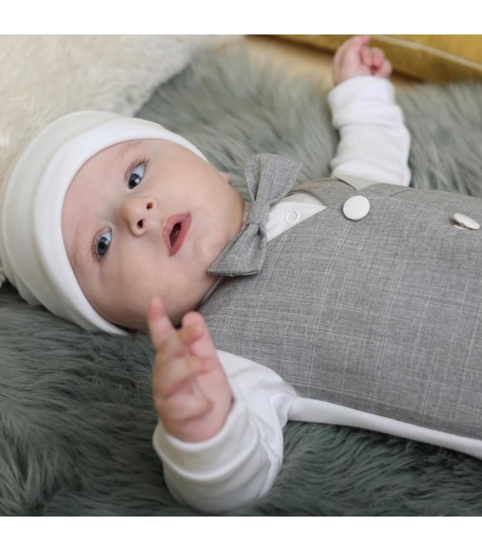 Человечек для новорожденного серая жилетка