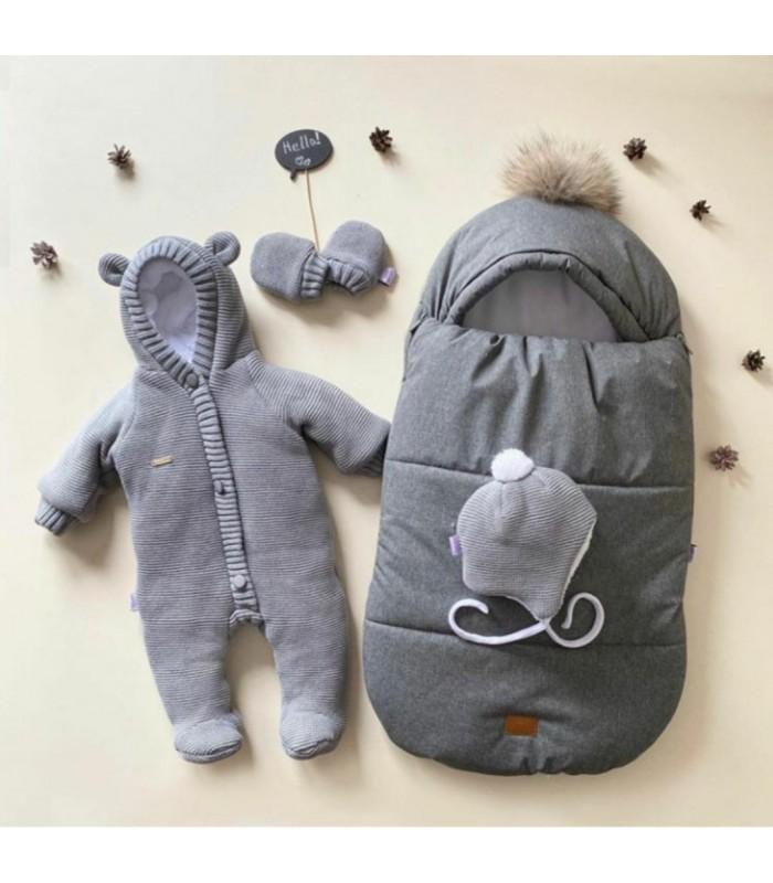 Зимний комплект на выписку для новорожденного цвет серый