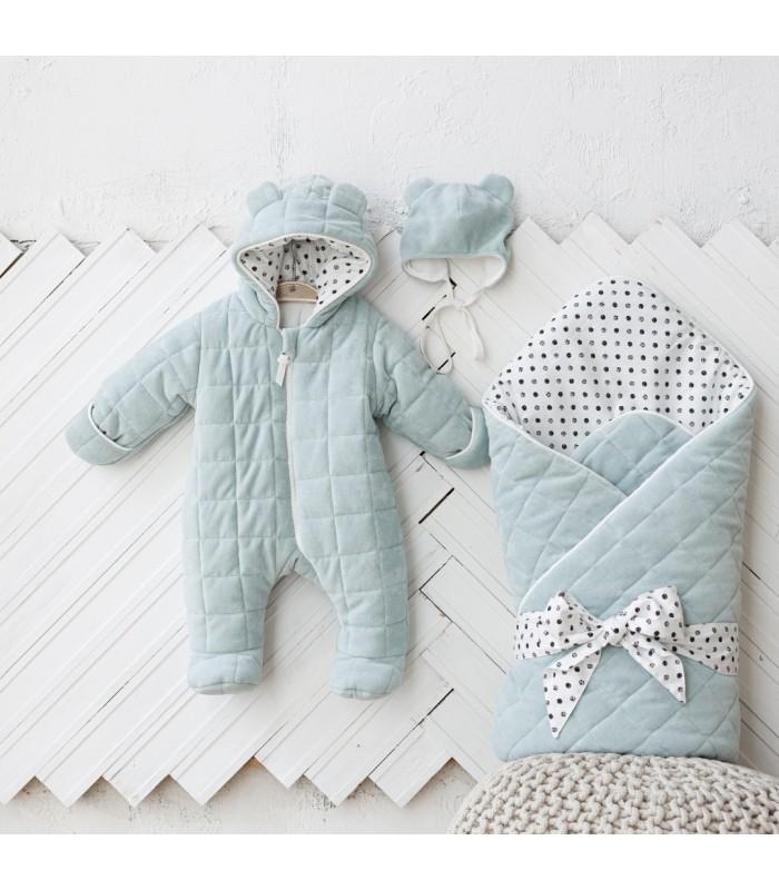 Комплект велюровый для новорожденного цвет сизый
