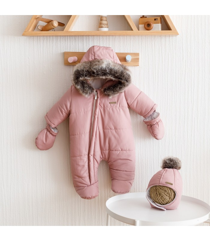 Зимний комплект комбинезон с шапочкой пудра