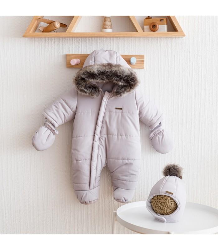 Зимний комплект комбинезон с шапочкой серый