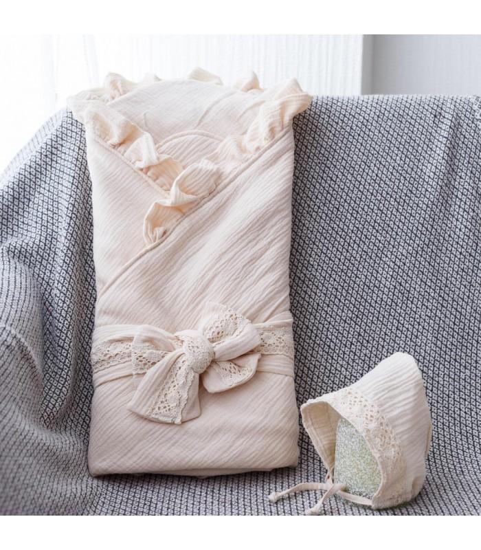 Конверт с шапочкой ткань муслин бежевый