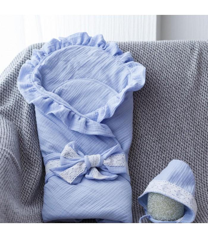 Конверт с шапочкой ткань муслин голубой