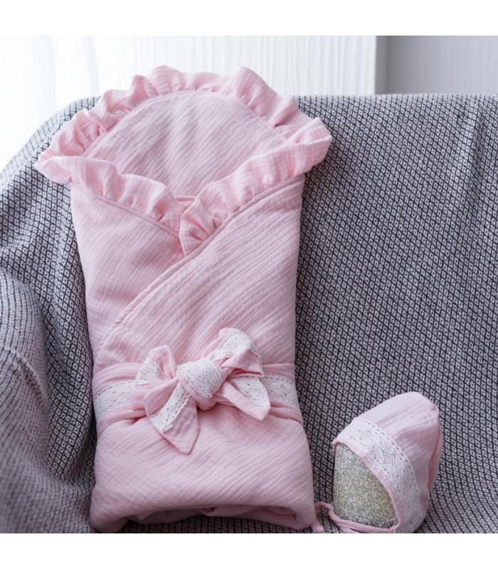Конверт с шапочкой ткань муслин розовый