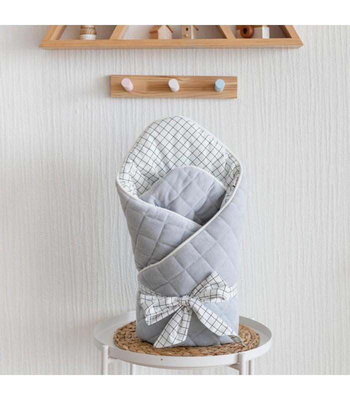 Велюровый конверт одеяло серый
