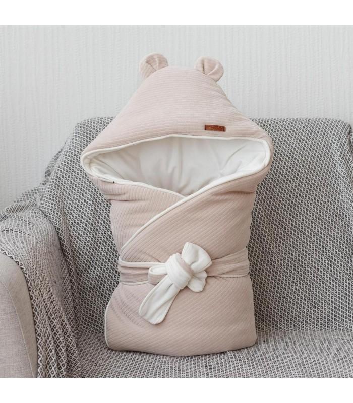 Велюровый конверт одеяло вельвет бежевый