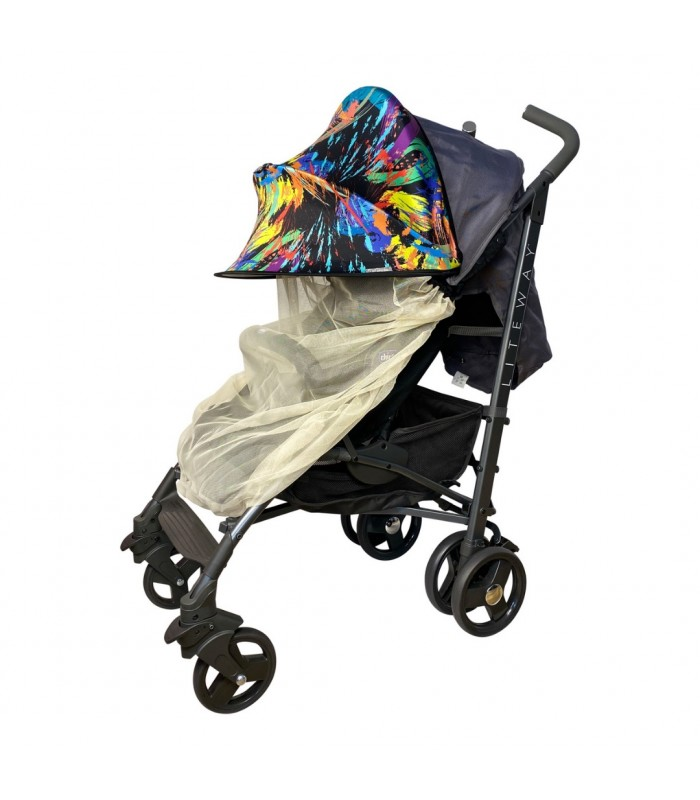 Двойной солнцезащитный козырек на коляску с бежевой москиткой краски