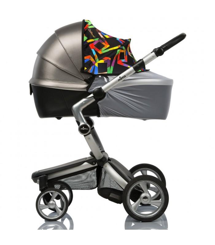 Двойной солнцезащитный козырек на коляску с белой москиткой геометрия