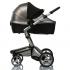 Двойной солнцезащитный козырек на коляску с черной москиткой