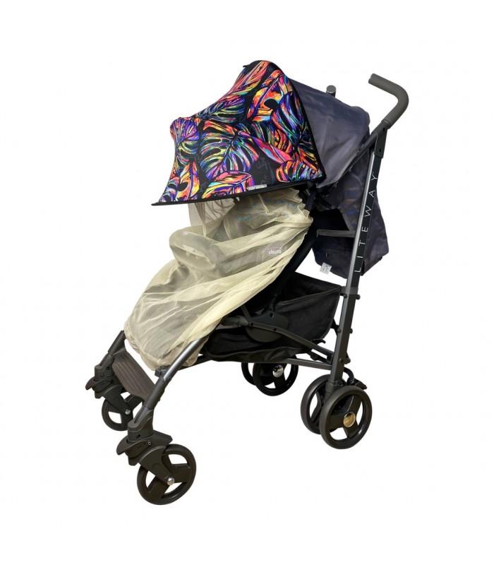Двойной солнцезащитный козырек на коляску с бежевой москиткой тропические листья