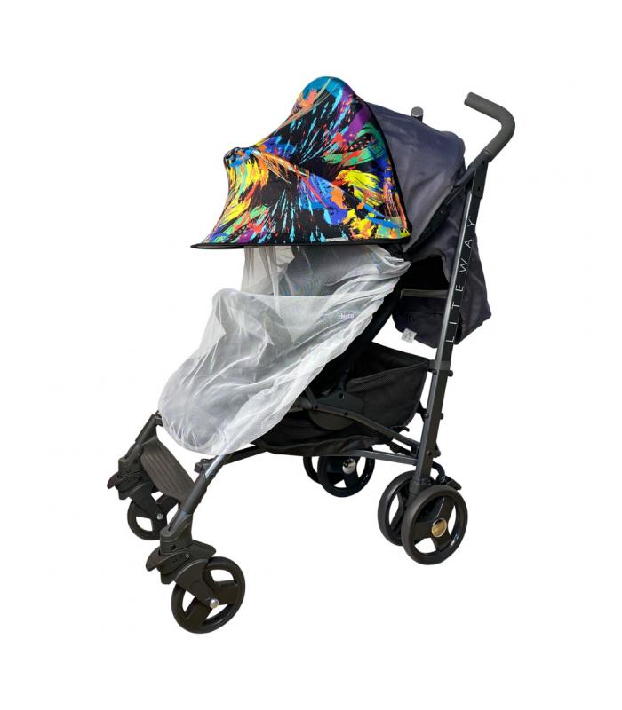 Двойной солнцезащитный козырек на коляску с белой москиткой краски