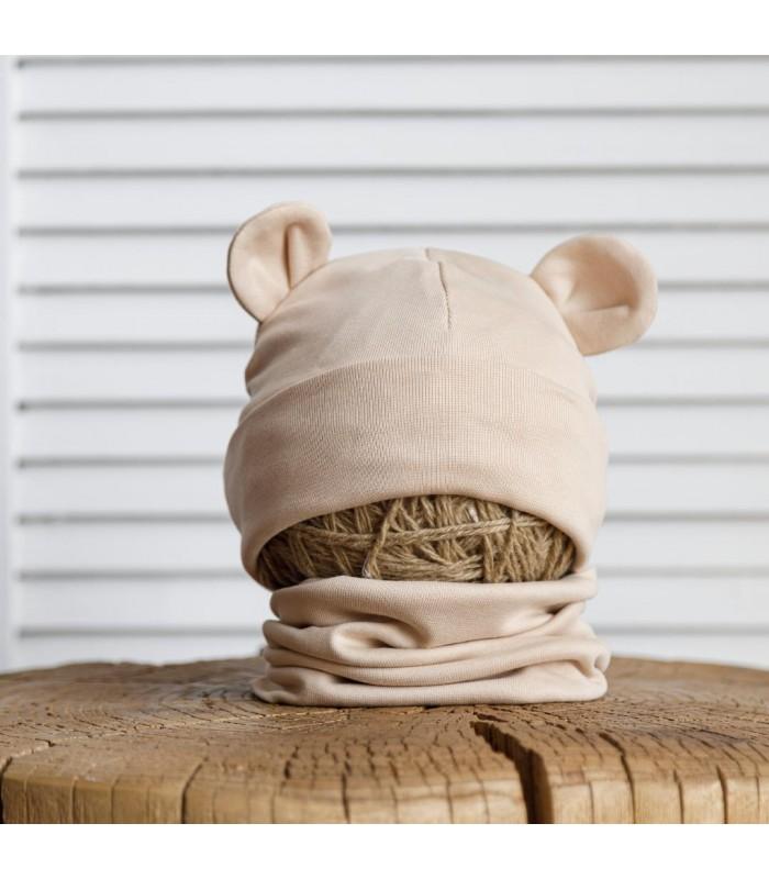 Набор шапка с манишкой бежевая