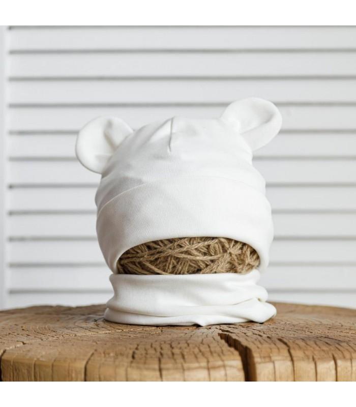 Набор шапка с манишкой молочная