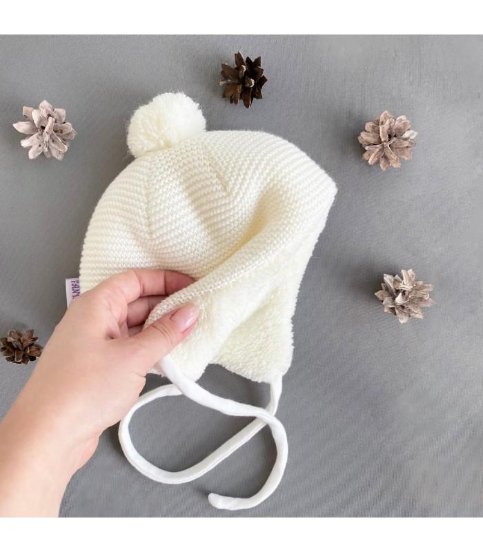 Зимняя шапочка на махре молоко