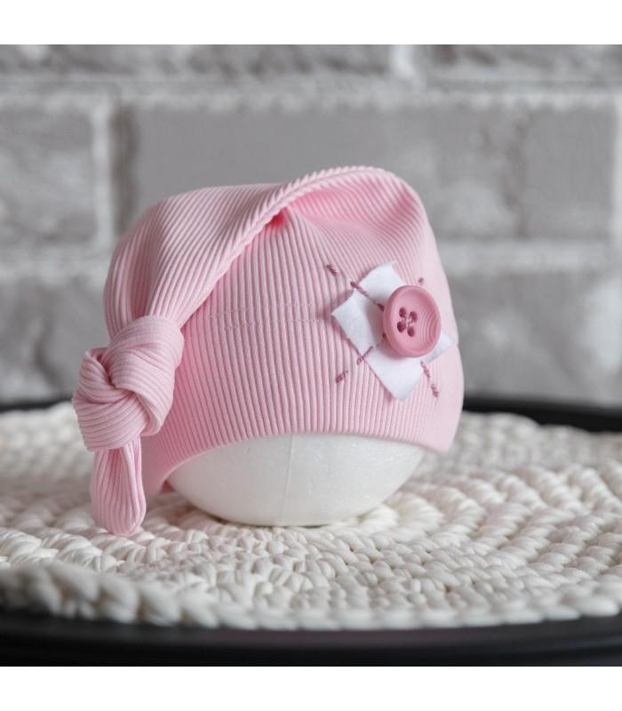 Шапочка для новорожденного розовая