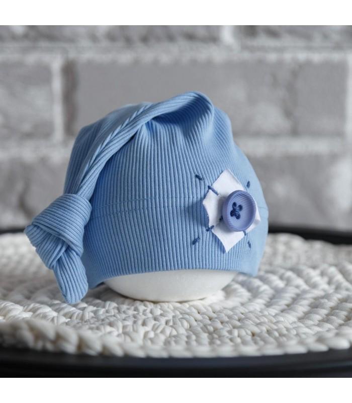 Шапочка для новорожденного голубая