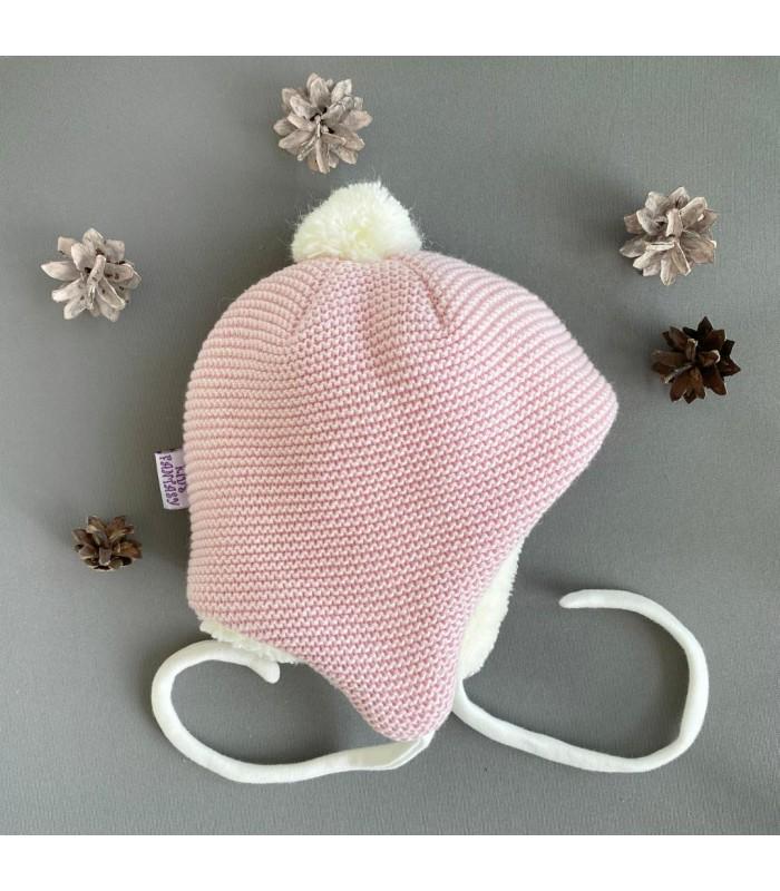 Зимняя шапочка на махре розовая