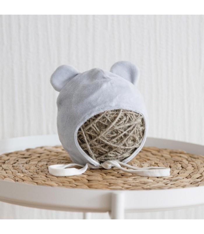 Шапочка для новорожденного велюр серая