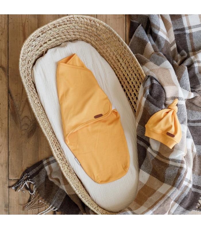 Евро пеленка на липучках с шапочкой горчичная