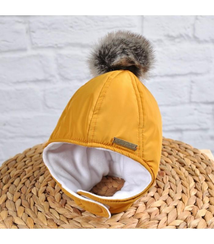 Зимняя шапочка горчичная